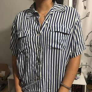 Navy blue stripped button down top